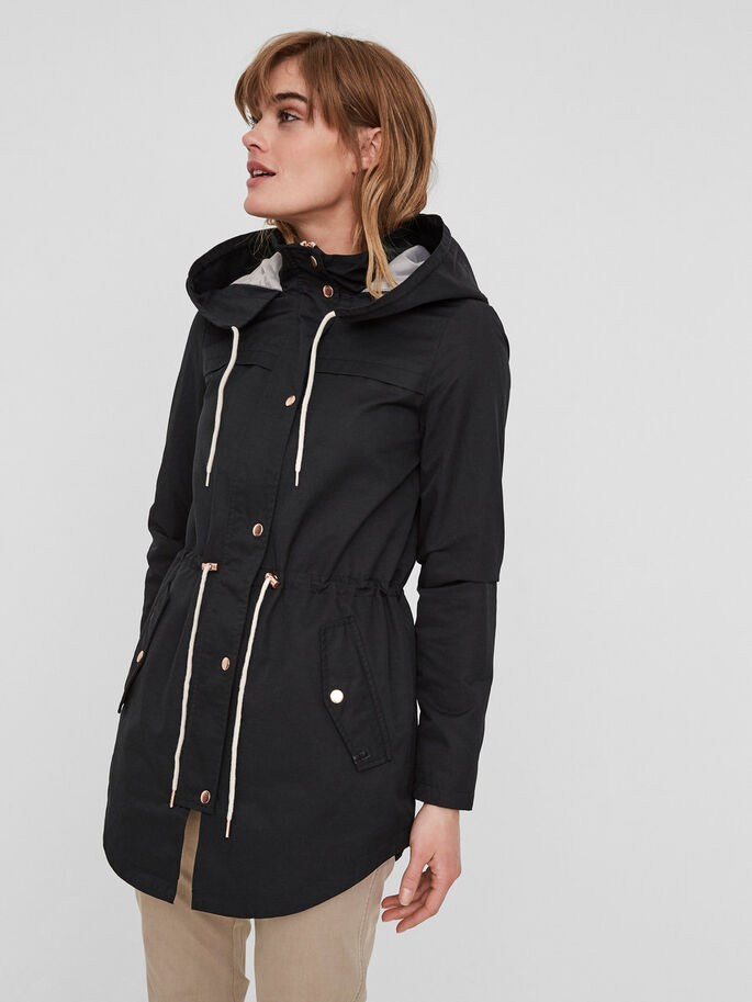CASUAL PARKA COAT, Black, large