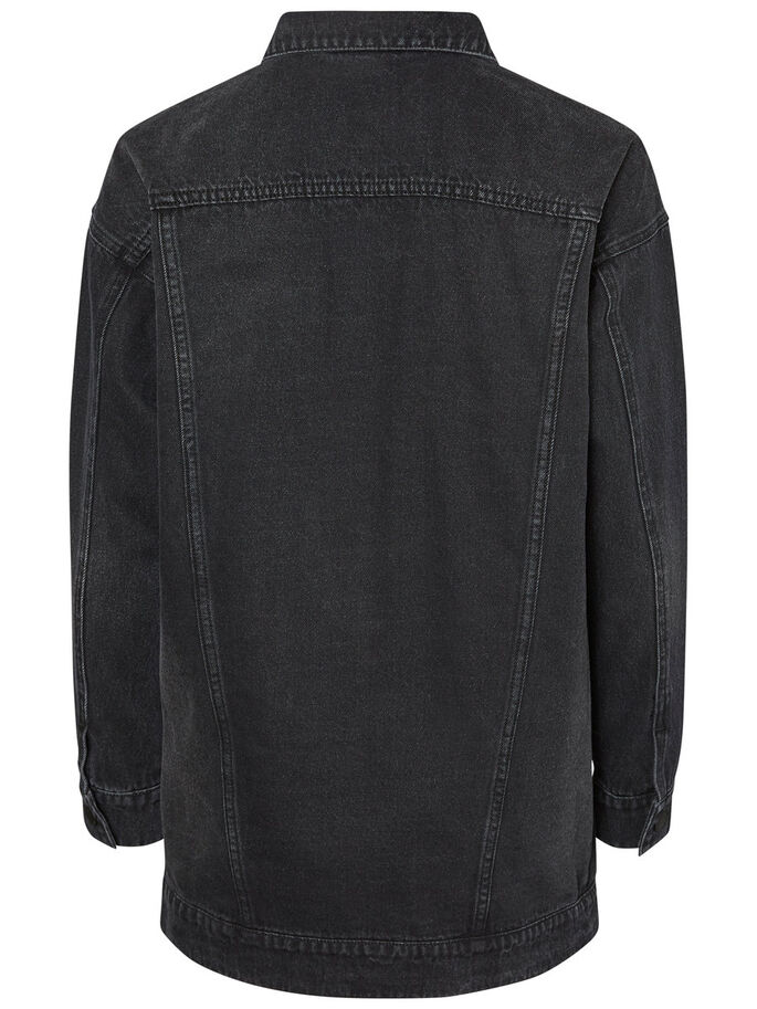 LONG DENIM JACKET, Black, large