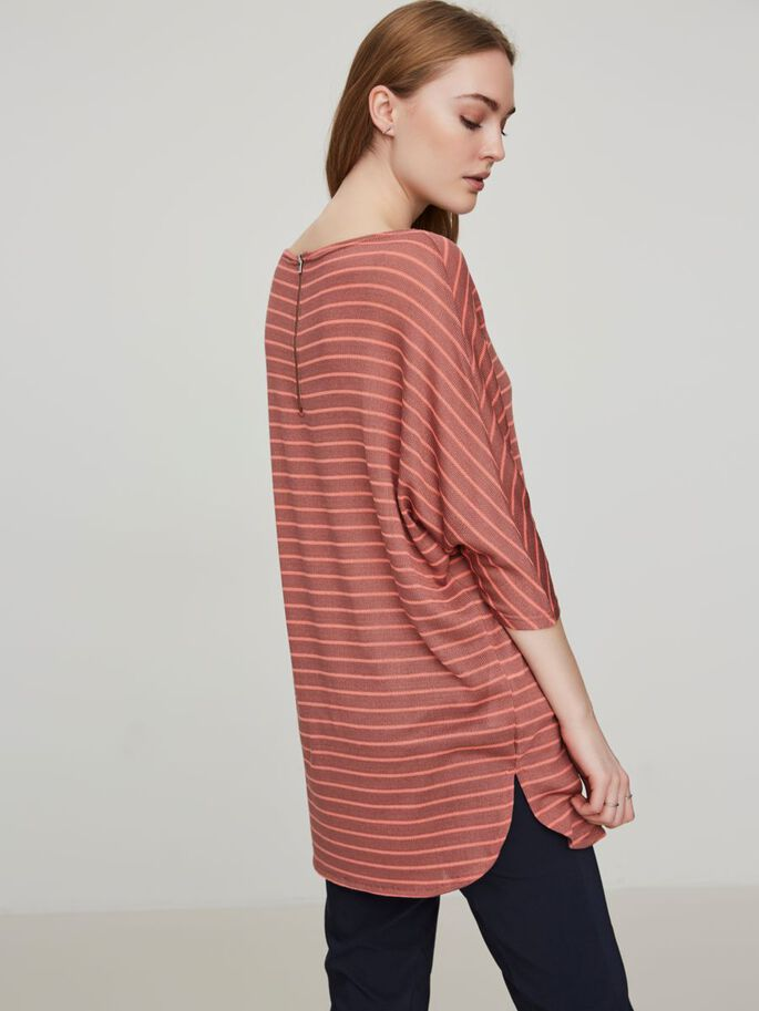 STRIPED 3/4 SLEEVED BLOUSE, Cedar Wood, large