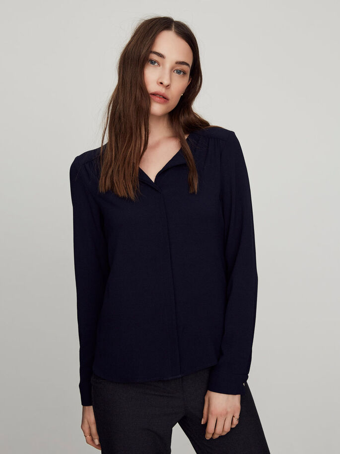 FEMININE LONG SLEEVED BLOUSE, Navy Blazer, large