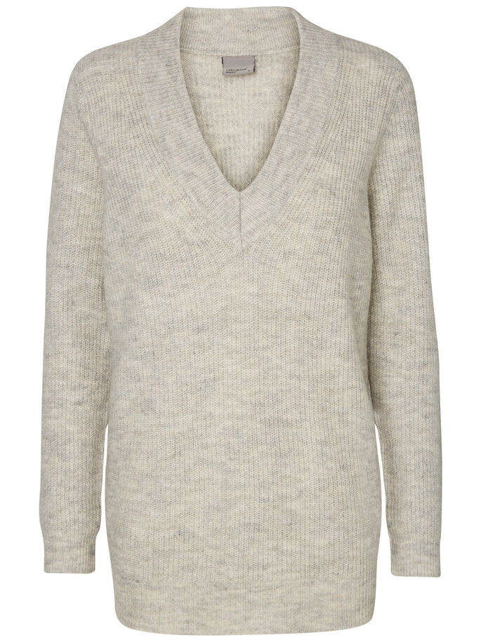 LANGERMET STRIKKET PULLOVER, Light Grey Melange, large
