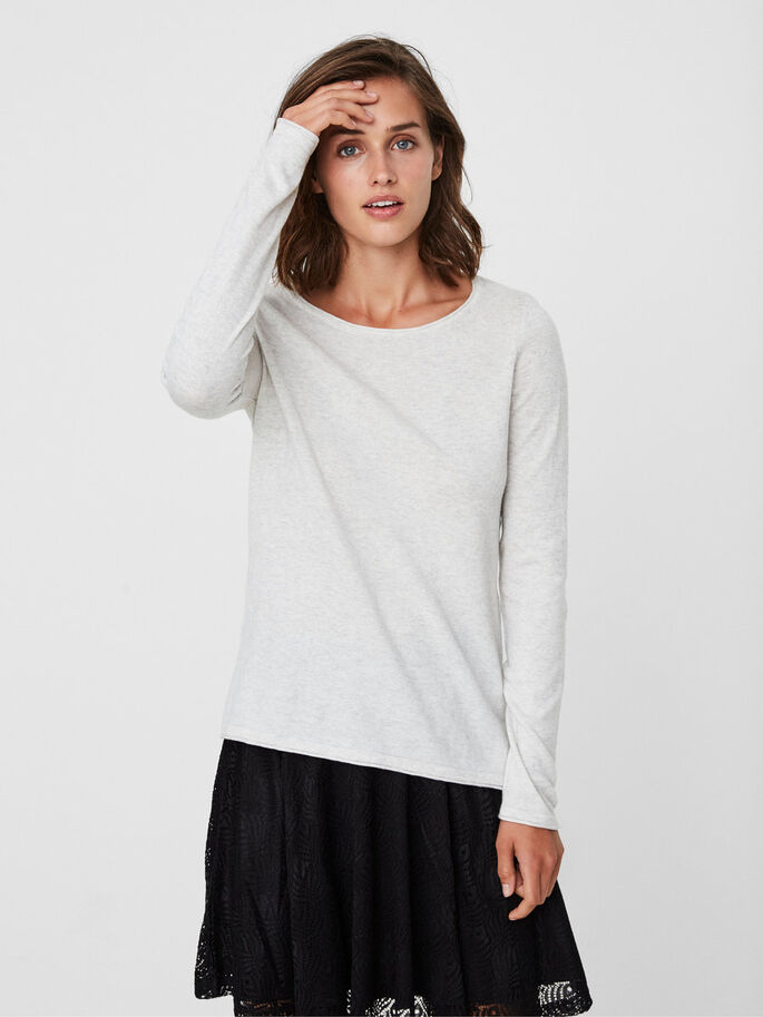 LÄSSIGE BLUSE, Light Grey Melange, large