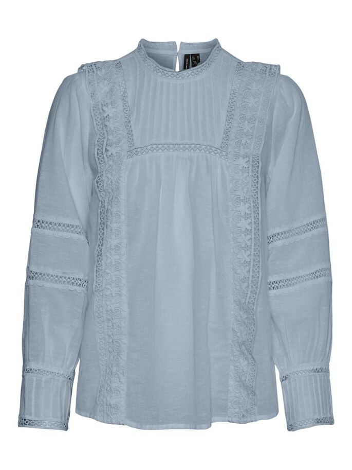 LANGE MOUWEN BLOUSE, Blue Fog, large