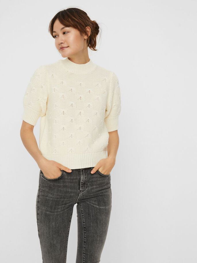 MANCHES COURTES PULL EN MAILLE, Birch, large