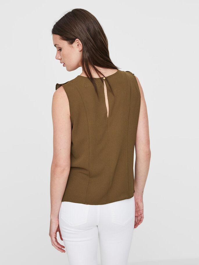 FRILL SLEEVELESS TOP, Dark Olive, large