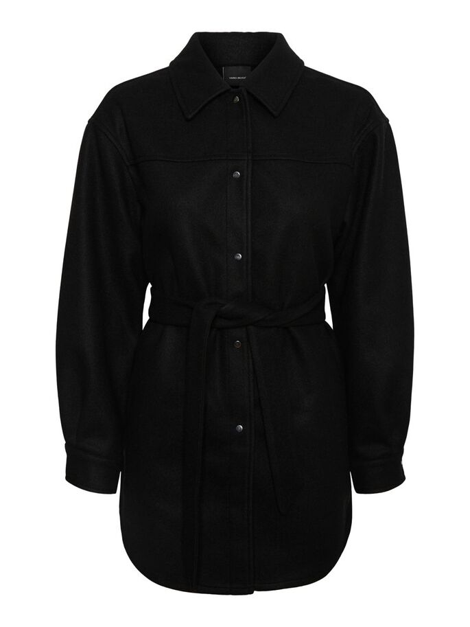 BELTED JACKET, Black, large