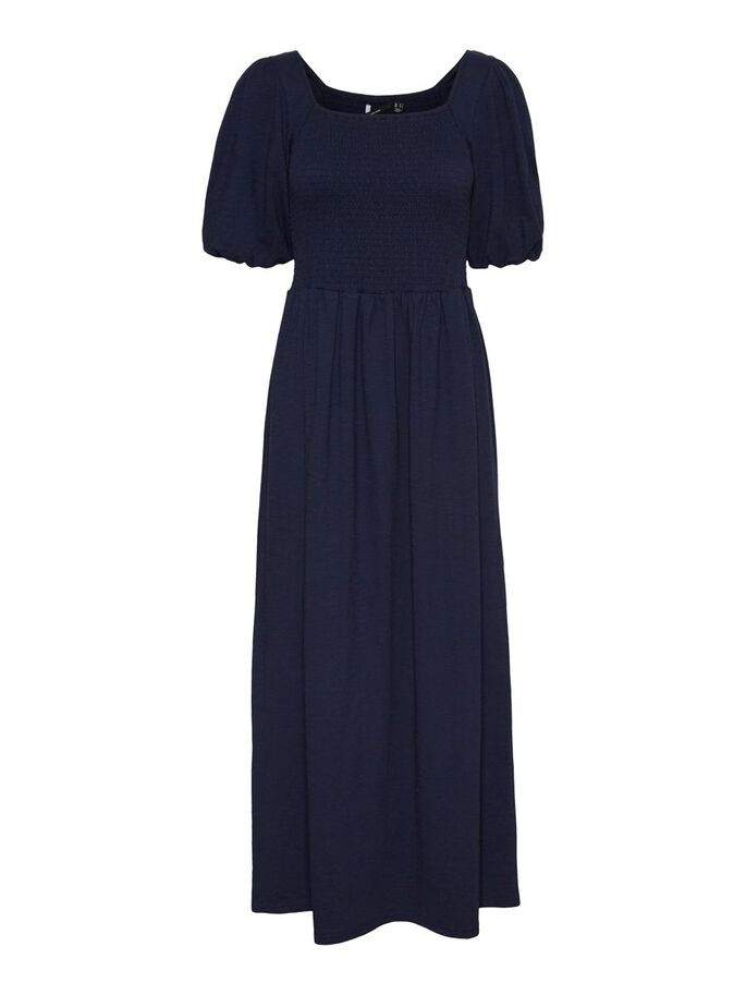 SMOCK MAXI DRESS, Navy Blazer, large