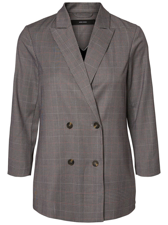 CHEQUERED BLAZER, Dark Grey, large
