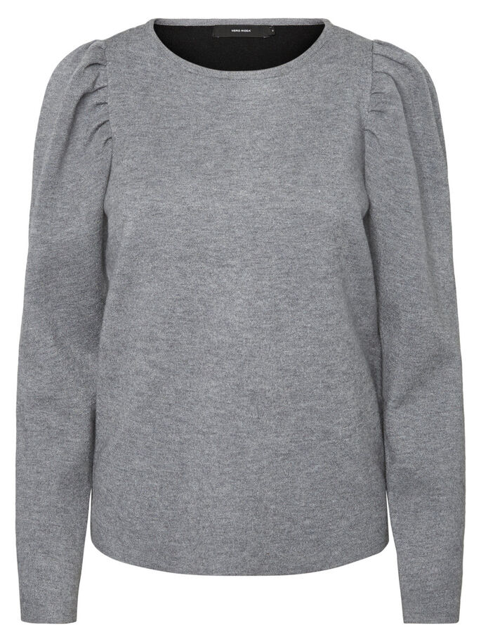 AVEC FINITIONS PULLOVER, Medium Grey Melange, large