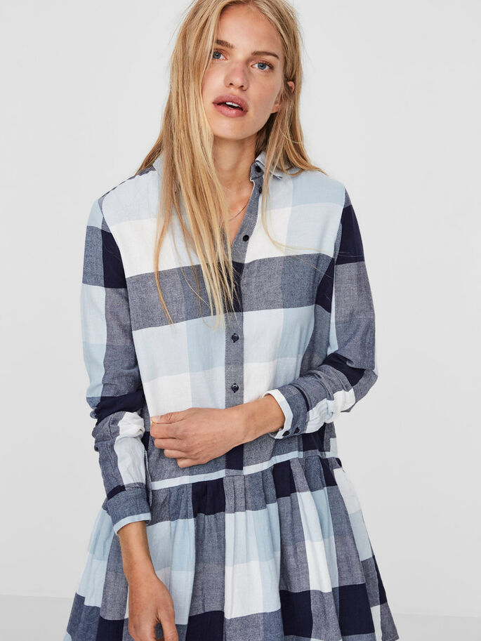 CHEQUERED SHIRT, Light Blue Denim, large