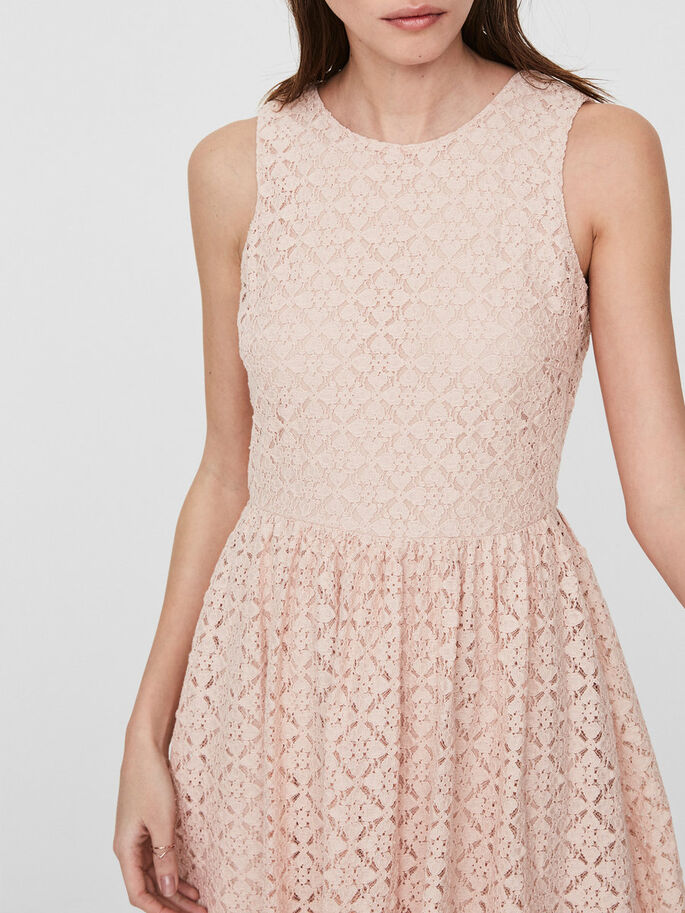 LACE SLEEVELESS DRESS, Cameo Rose, large