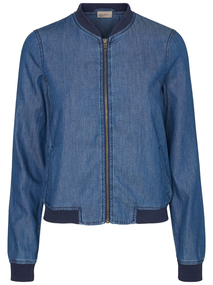 BOMBER- JACKE, Medium Blue Denim, large