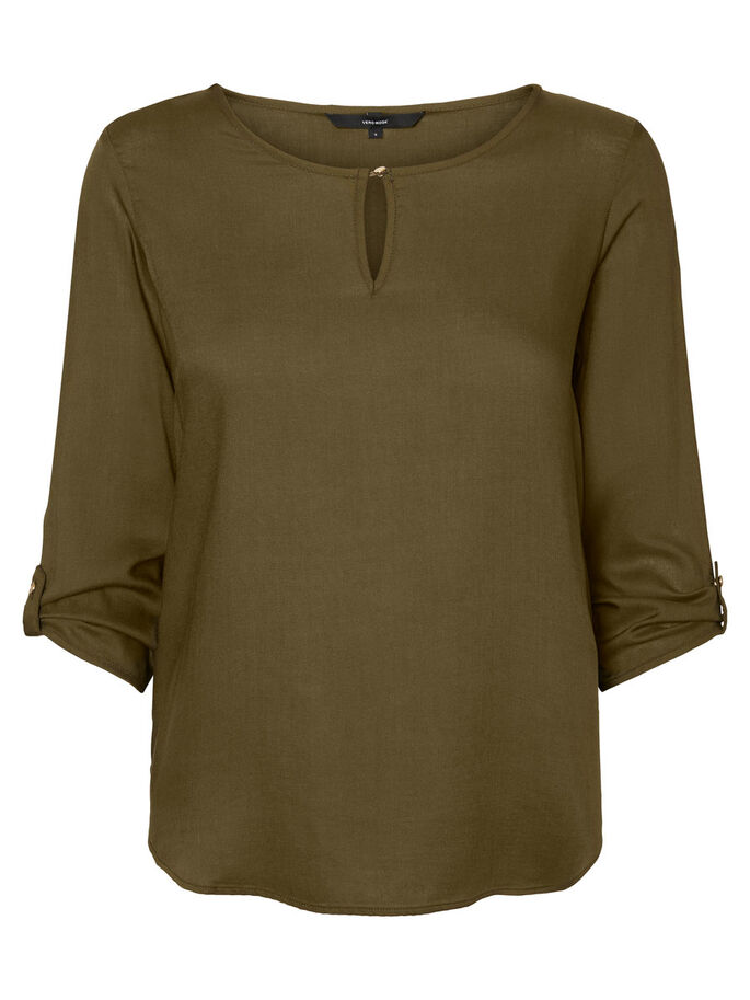 FEMININE 3/4 SLEEVED BLOUSE, Dark Olive, large