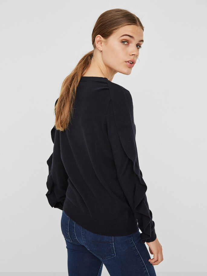 FRILLS PULLOVER, Black, large
