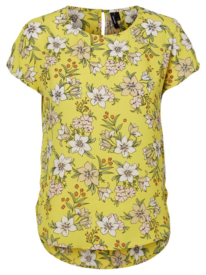 FLOWER SHORT SLEEVED TOP, Empire Yellow, large