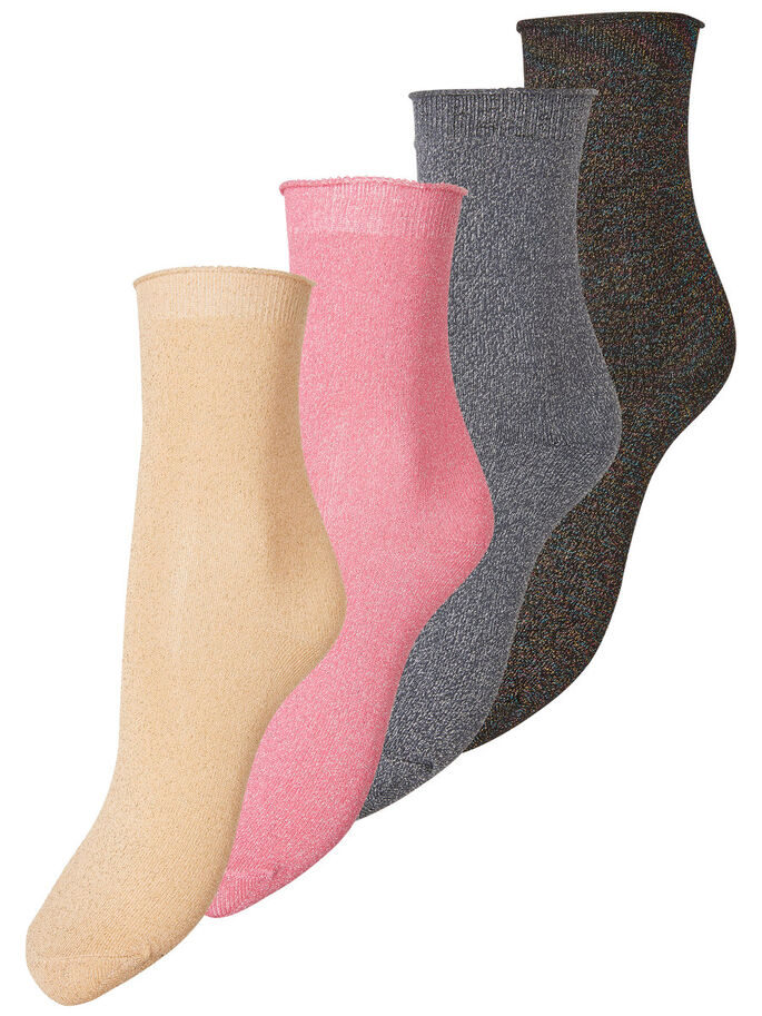 4-PACK GLITTER SOCKS, Azalea Pink, large