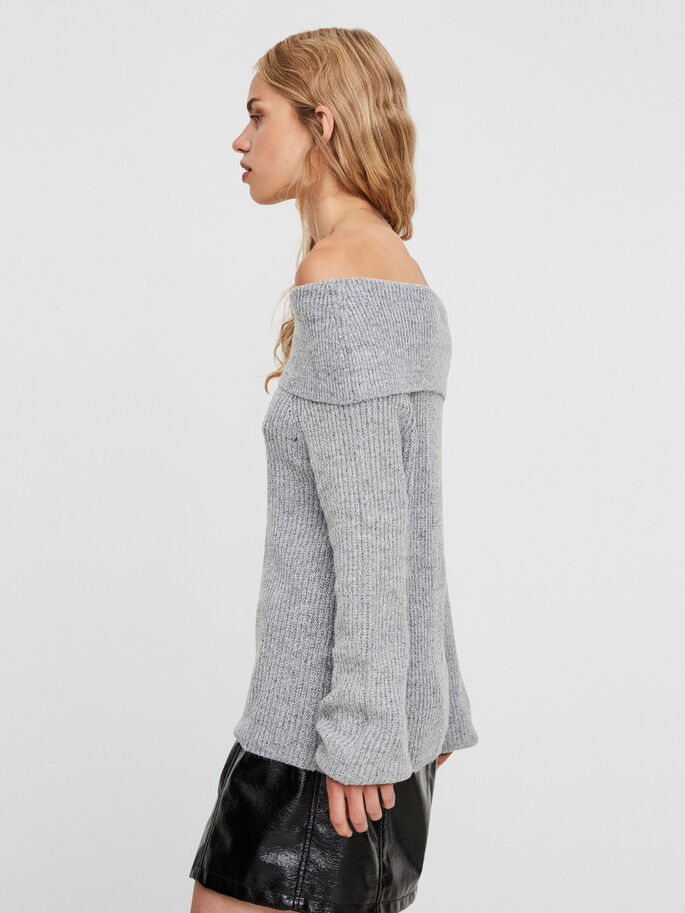 OFF-SHOULDER STRIKKET PULLOVER, Light Grey Melange, large