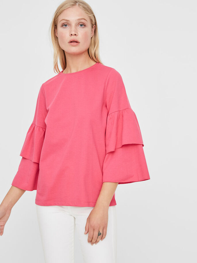 FRILL SLEEVED SWEATSHIRT, Beetroot Purple, large