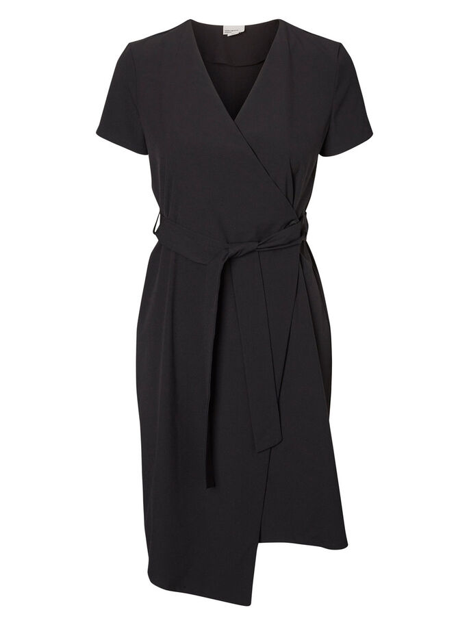 ASYMMETRIC SHORT SLEEVED DRESS, Black, large