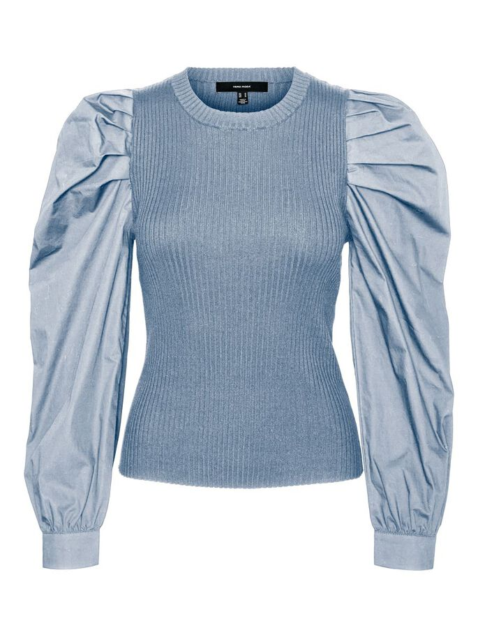 VOLUME SLEEVED KNITTED PULLOVER, Blue Fog, large