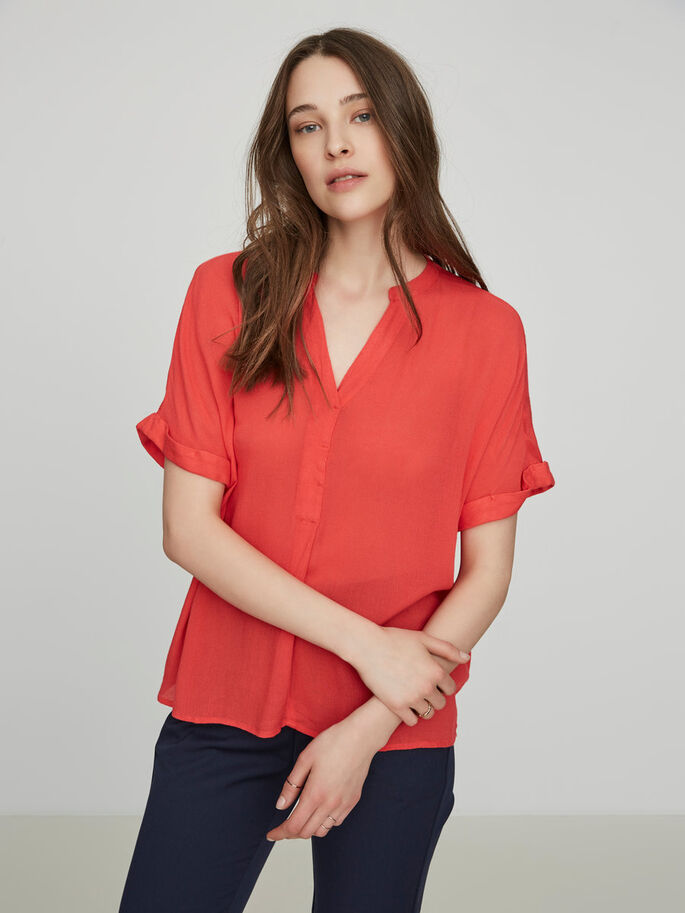 LOOSE FIT SHORT SLEEVED BLOUSE, Hibiscus, large