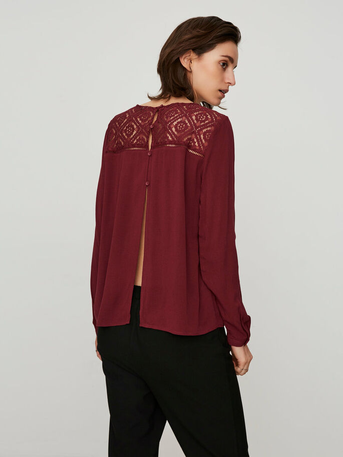 EMBROIDERED LONG SLEEVED TOP, Zinfandel, large