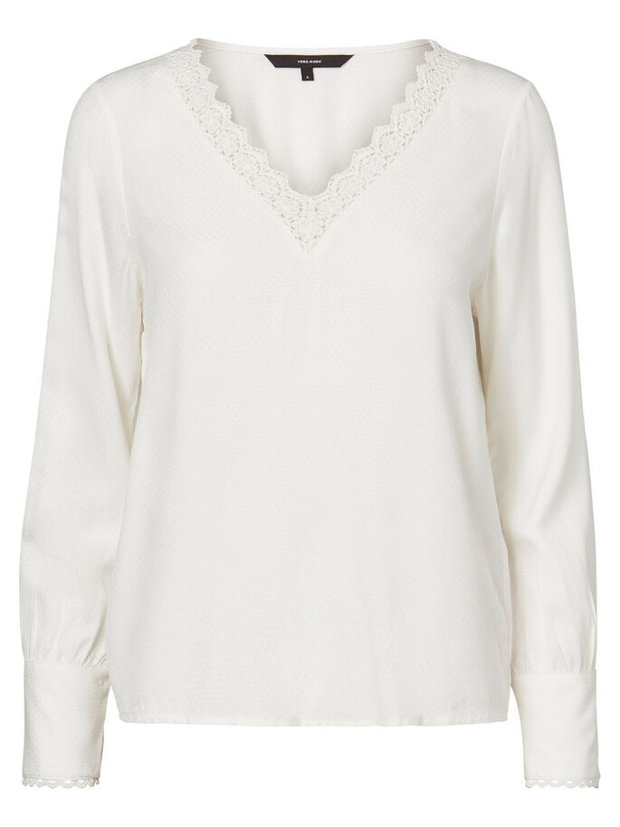 FEMININE LONG SLEEVED BLOUSE, Snow White, large