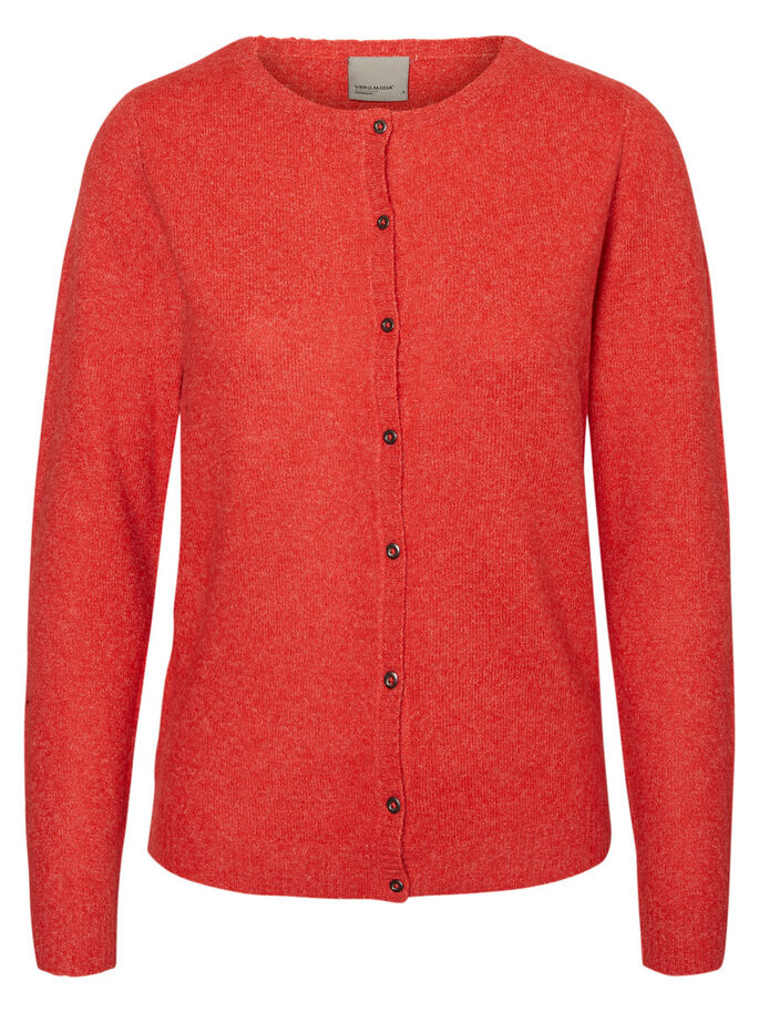 CASUAL KNITTED CARDIGAN, Flame Scarlet, large