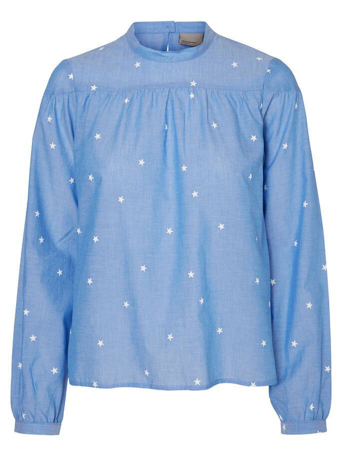 PRINTED LONG SLEEVED TOP, Light Blue Denim, large