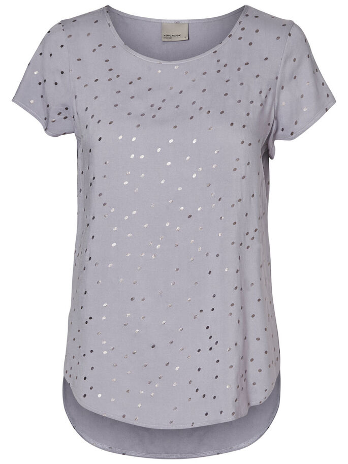 VISCOSE SHORT SLEEVED TOP, Lilac Grey, large