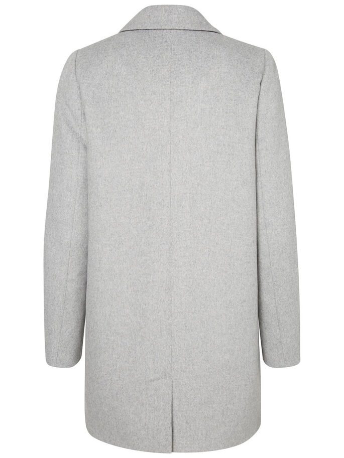 LONG WOOL JACKET, Light Grey Melange, large