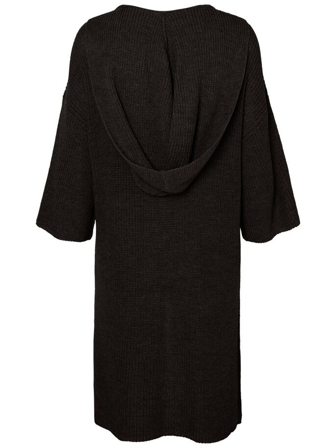 3/4 SLEEVED KNITTED CARDIGAN, Black, large