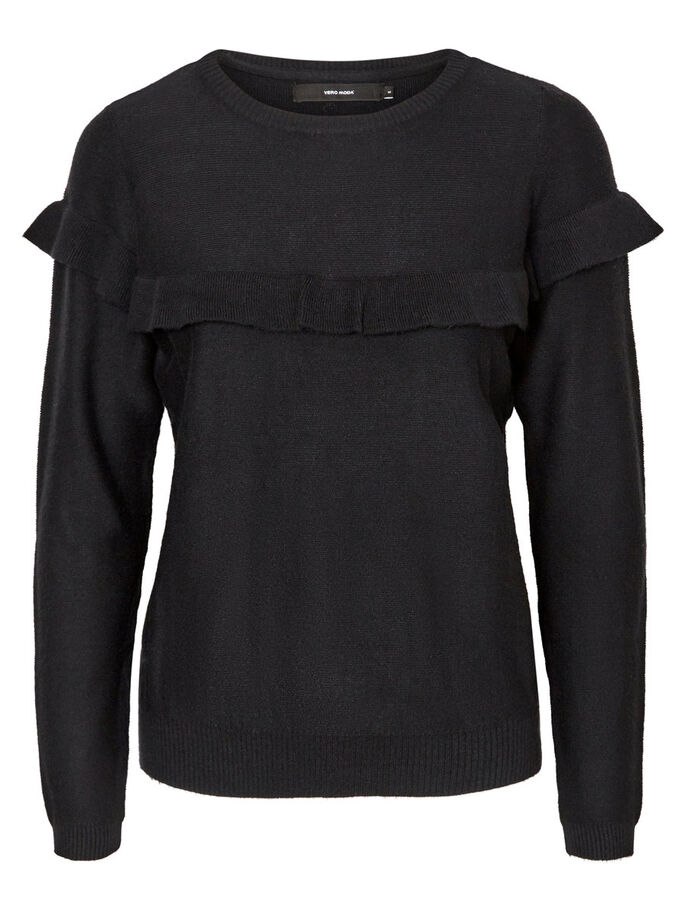 FLÆSE STRIKKET PULLOVER, Black Beauty, large