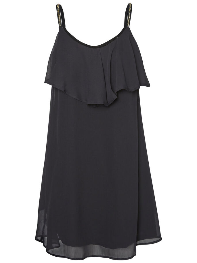 FRILL SLEEVELESS DRESS, Black, large