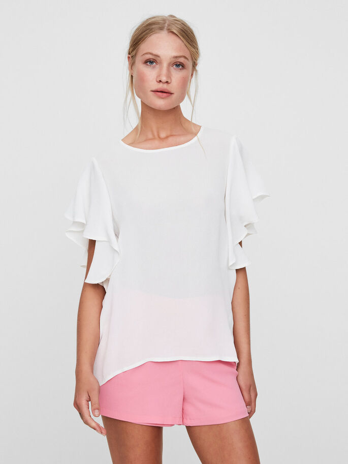 FRILL SHORT SLEEVED TOP, Snow White, large