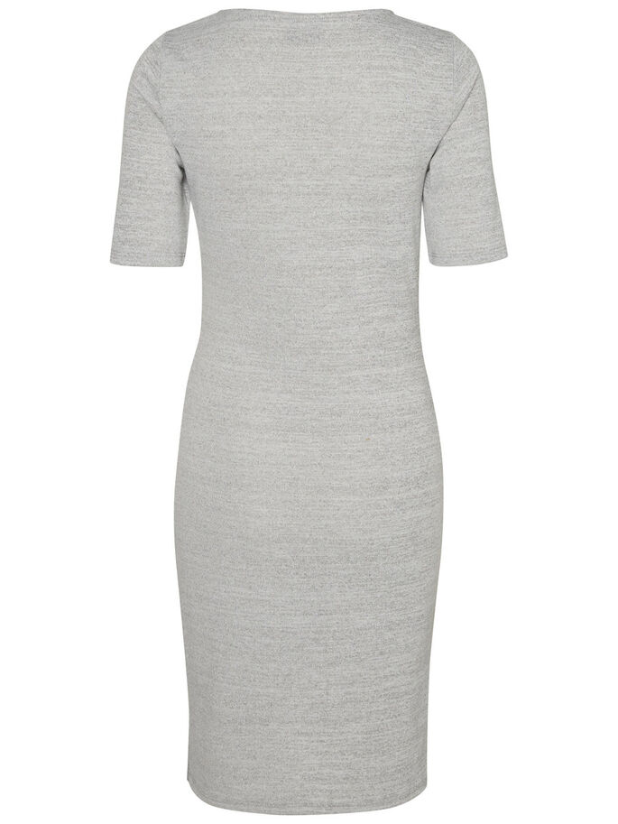 FEMININE SHORT SLEEVED DRESS, Light Grey Melange, large