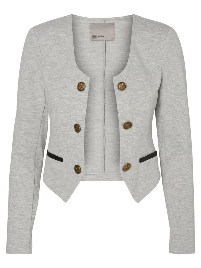 KORTE BLAZER, Light Grey Melange, large