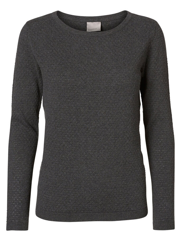 TEXTURED PULLOVER, Dark Grey Melange, large