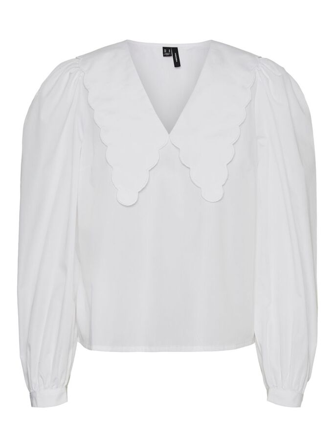 V-HALS KRAVE TOP MED LANGE ÆRMER, Bright White, large