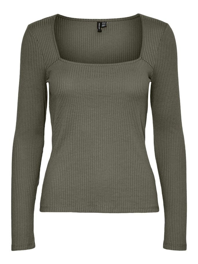 SQUARE NECK TOP, Dusty Olive, large
