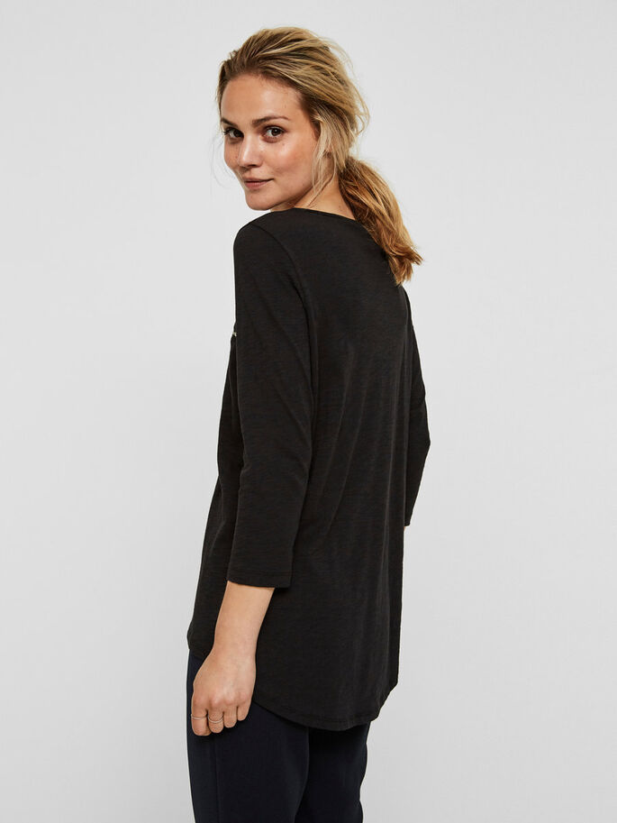 CASUAL BLOUSE MANCHES 3/4, Black, large