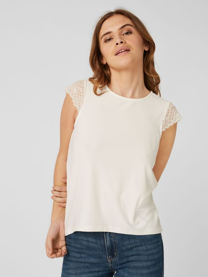 LACE SHORT SLEEVED TOP, Snow White, large