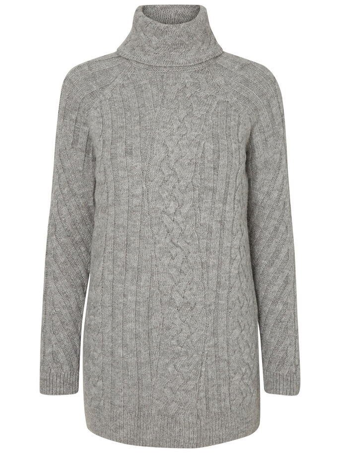 LONG KNITTED PULLOVER, Light Grey Melange, large