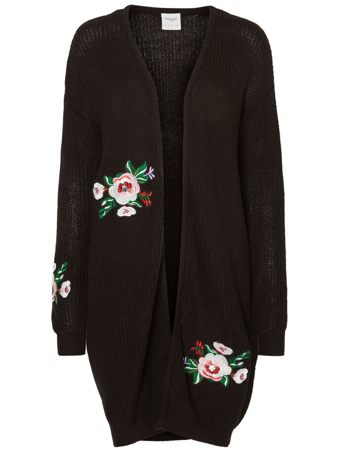 LONG CARDIGAN EN MAILLE, Black Beauty, large
