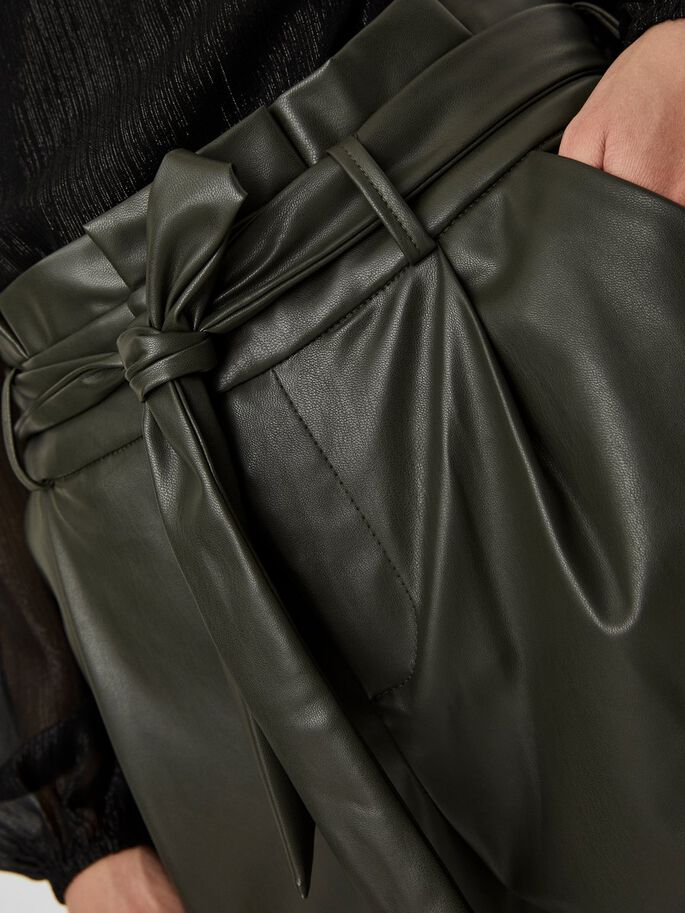 HIGH WAIST PAPERBAG ANKLE TROUSERS, Peat, large