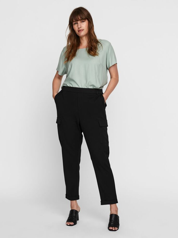 LOOSE FIT CARGO TROUSERS, Black, large