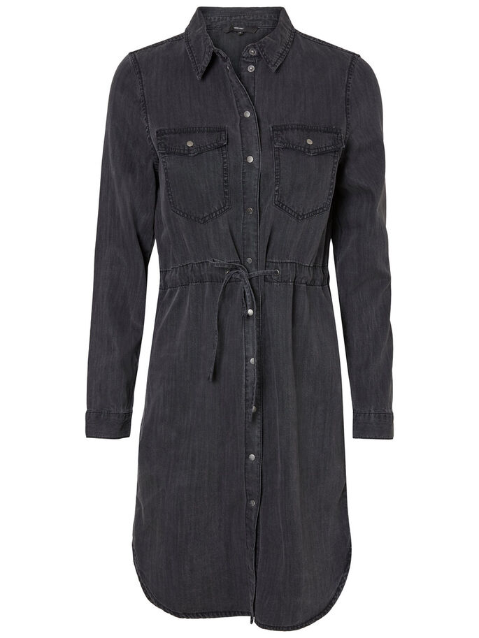 SHIRT DRESS, Black, large