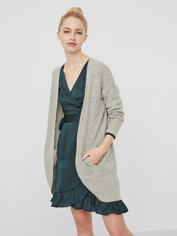 MANCHES LONGUES CARDIGAN EN MAILLE, Light Grey Melange, large