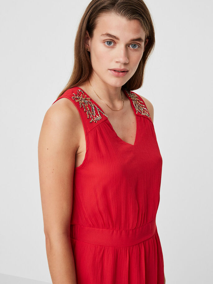 DETAILED SLEEVELESS DRESS, Lychee, large