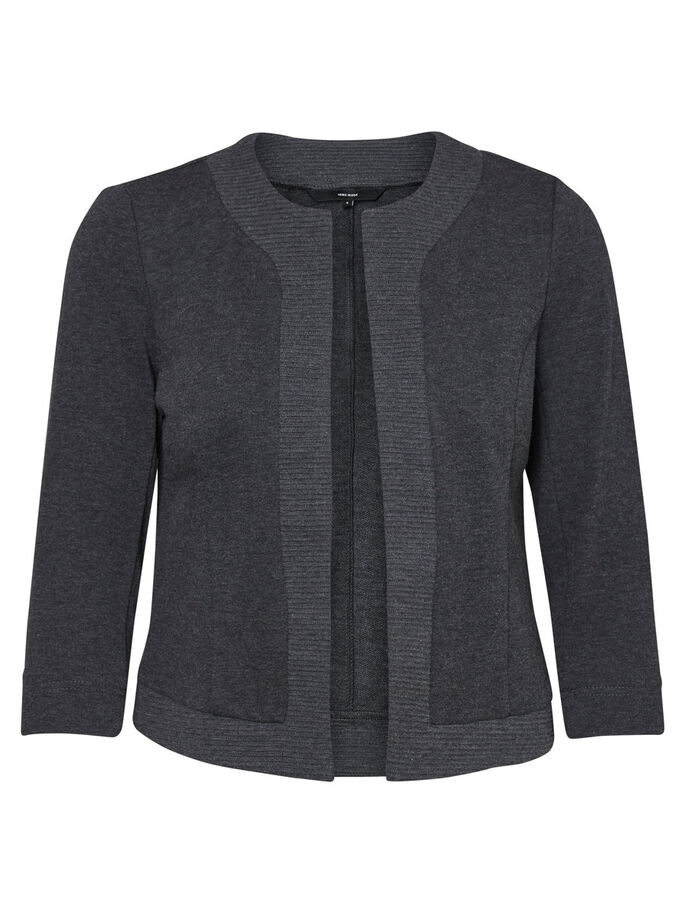 SHORT BLAZER, Dark Grey Melange, large